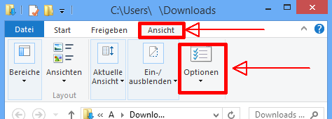 Windows 8: Ordneroptionen