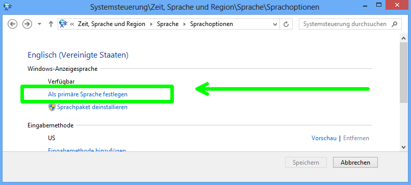 Windows 8: Primäre Sprache festlegen