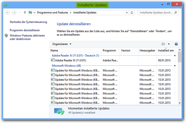Windows 8: Liste mit allen Updates