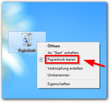 Windows 8: Papierkorb leeren. Rechter Mausklick