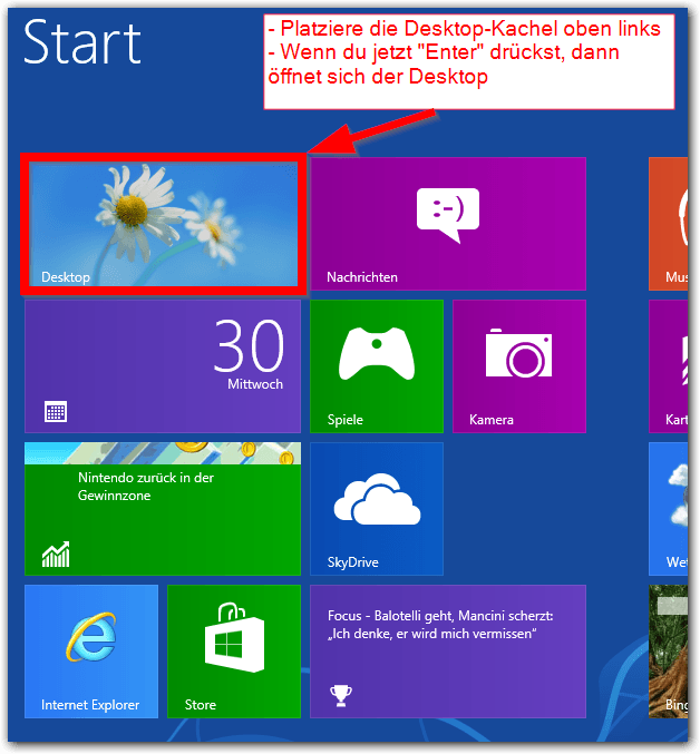 Windows 8: Desktop-Kachel links oben