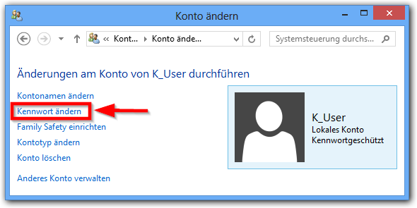 Windows 8: User Kennwort ändern