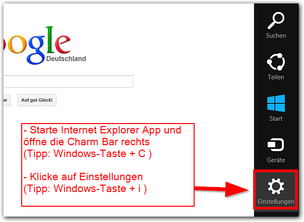 Windows 8: Internet Explorer App Einstellungen öffnen