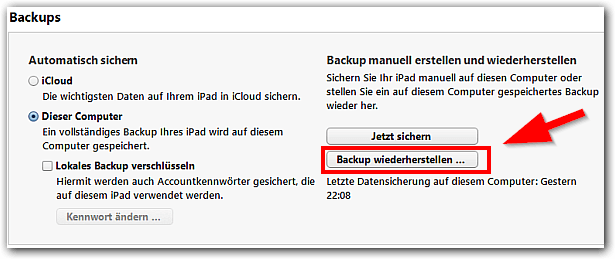 iTunes: Backup wiederherstellen