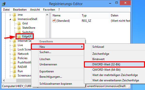 Windows 8 Registry: EdgeUI
