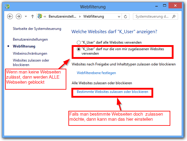 einzelne webseite sperren