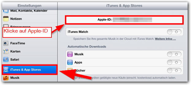 "iPad, iPhone, iPad, Mini iOS:  ""iTunes & App Stores"" -> ""Apple-ID"""
