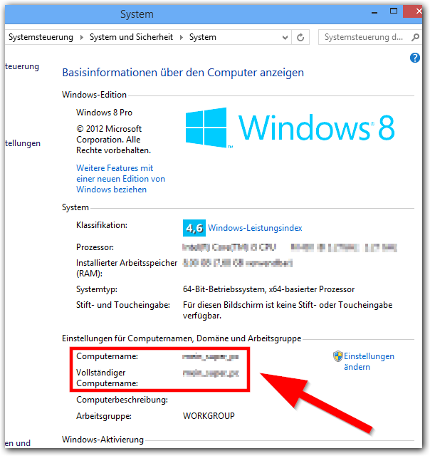 Windows 8: PC-Name in der Systemsteuerung