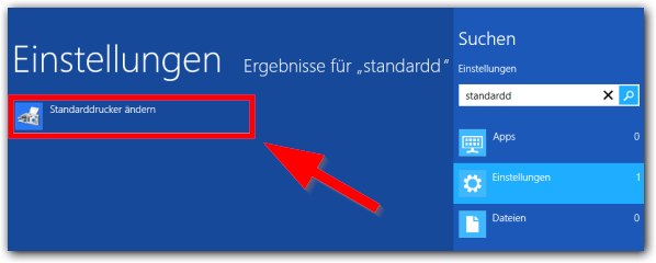 Windows 8: Standaddrucker finden in den Einstellungen