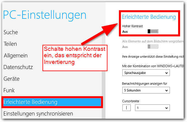 Windows 8: Hoher Kontrast