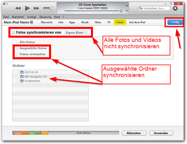 iTunes: Foto Synchroniation stoppen