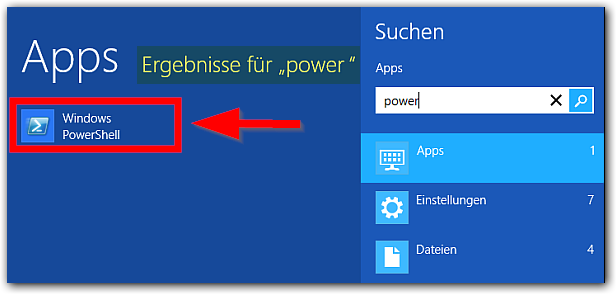 Windows 8: Windows PowerShell Finden