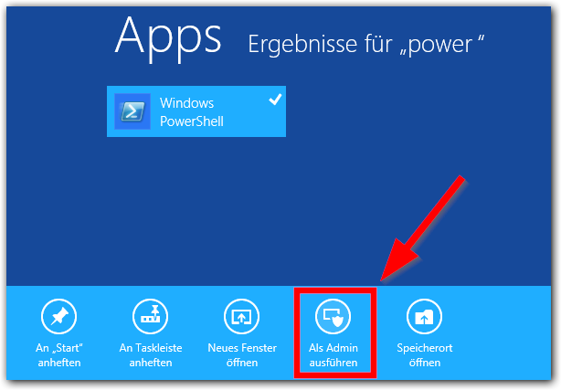 Windows 8: Windiows PowerShell als Admin