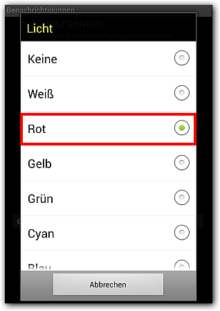 Android WhatsApp: Licht - Option -> Farbe Rot
