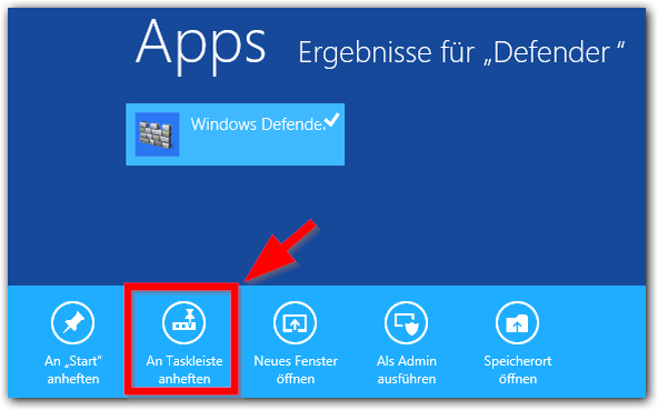 Windows 8: Windows Defender An Taskleiste anheften