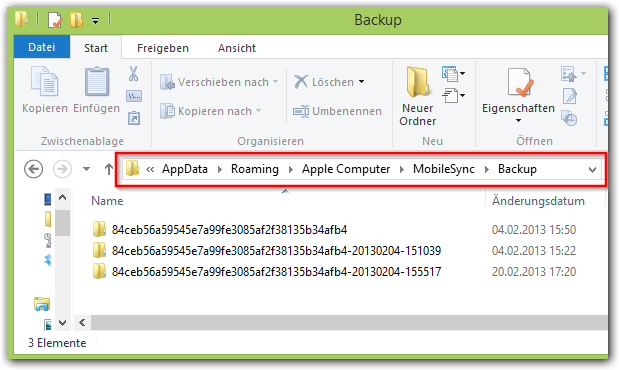 Windows: iTunes Backup ordner