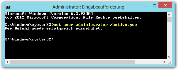 net user administrator /active:yes