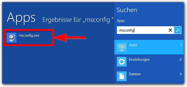 Windows 8: msconfig App