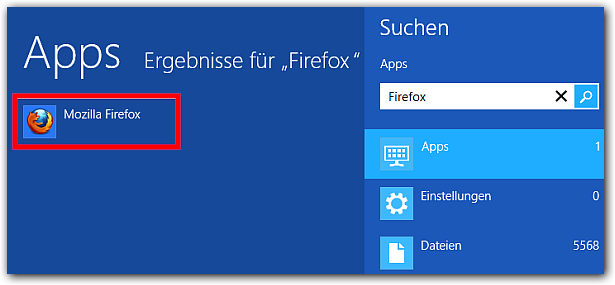 Windows 8 Firefox finden