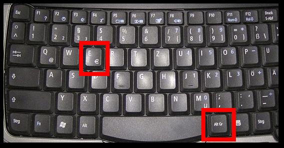 German Keyboard Euro Sign
