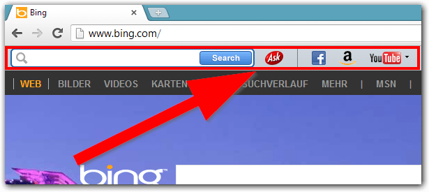 Ask.com Toolbar im Google Chrome Browser
