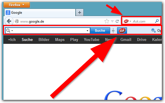 Ask.com Toolbar im Firefox Browser