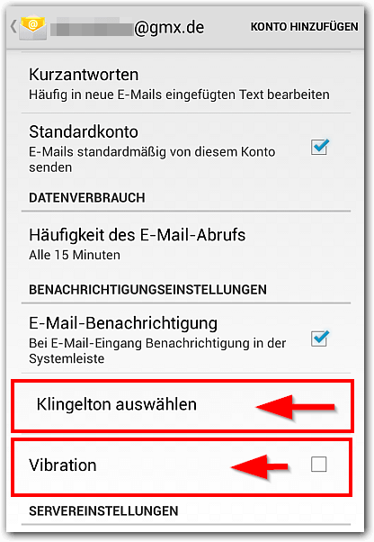 Android 4 Mail App Sound und Vibration