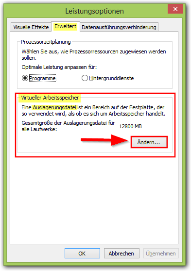 Windows 8: Leistungsoptionen
