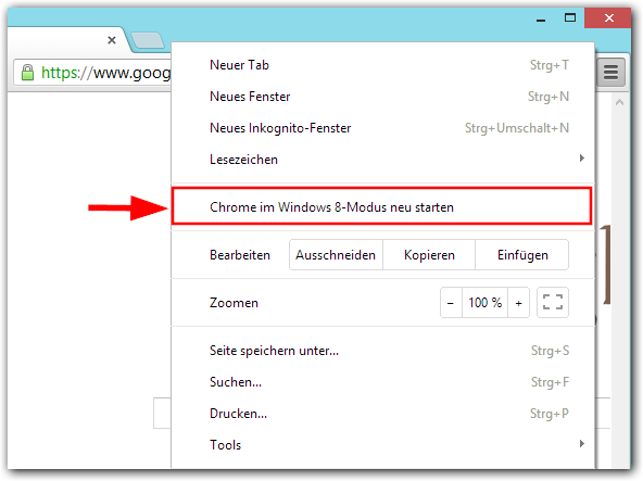 Chrome im Windows 8-Modus neu starten