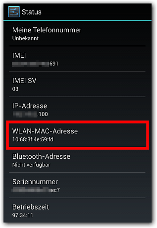 Android WLAN-MAC-Adresse