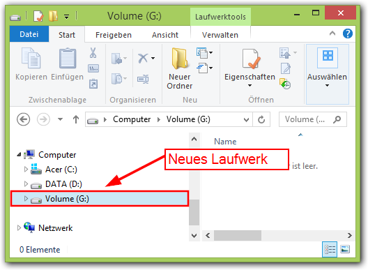 Windows 8: Neues Laufwerk