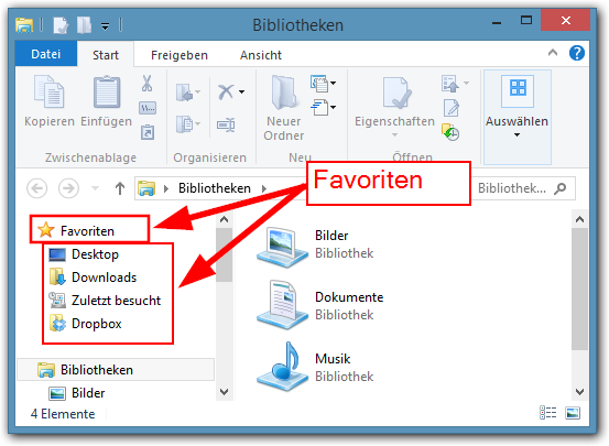Windows 8: Favoriten-Ordner