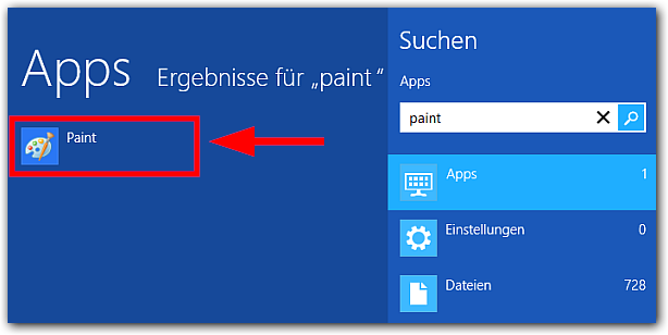 Windows 8: Paint finden