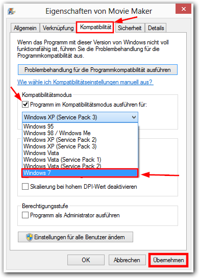 Windows Kompatibilitätsmodus