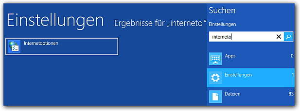 Windows 8: Internetoptionen öffnen