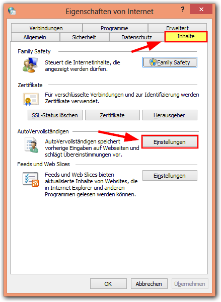 Windows 8:Internetoption -> Autovervollständigen