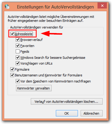 Windows 8:Internetoption -> Autovervollständigen aktiveren /deaktivieren