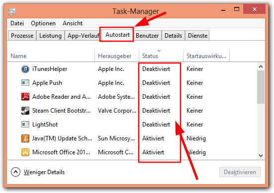 Windows 8: Task-Manager -> Autostart