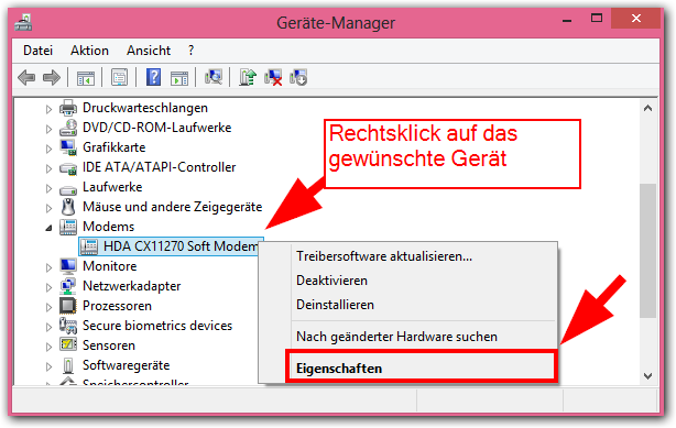 Windows 8: Gerätemanager -> Soft Modem