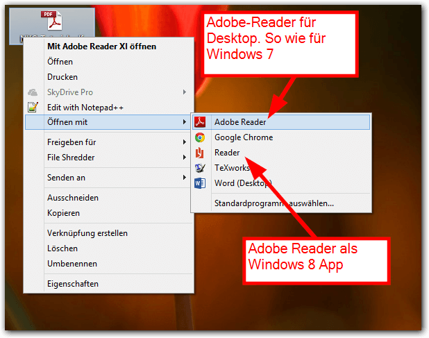 Windows 8: Zwei Adobe-Reader Versionen