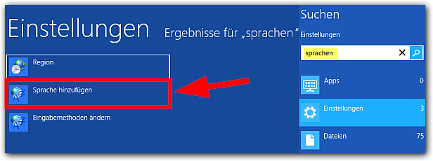 Windows 8: Einstellungen -> Sprache ändern