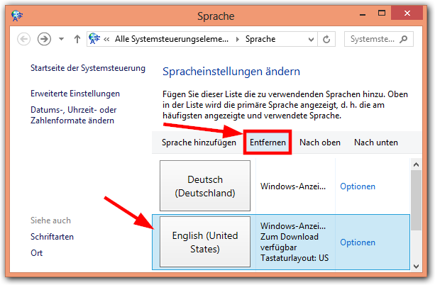 Windows 8: Sprache entfernen