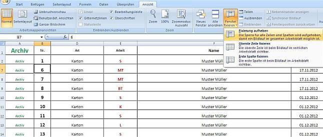 Excel zeile titelzeile beim scrollen immer sichtbar for Xls fenster fixieren