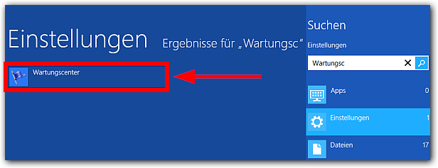 Windows 8 Wartngscenter suchen