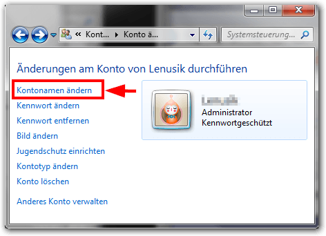 Windows 7: Kontonamen ändern