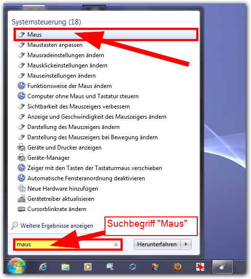 Windows 7: Mauseinstellungen