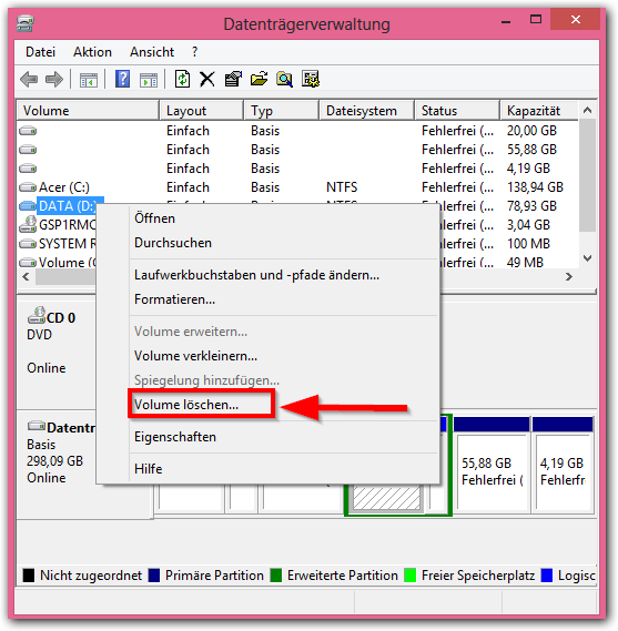 Windows 8: Partition Löschen