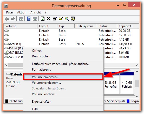 Windows 8: Partition erweitern