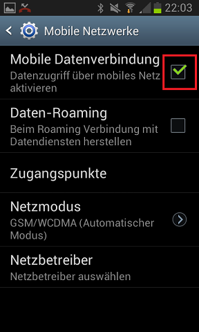 Mobile Datenverbindung