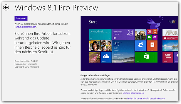 Windows 8.1 Preview im Windows Store